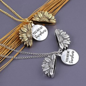Engraved You Are My Sunshine sunflower Locket necklace designer necklace designer jewelry women necklace designer jewelry 380198