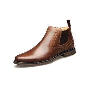 Stivali di cuoio reali degli uomini del progettista britannico scarpe casual scarpe da sposa Nuovo Martin Stivali Cowskin uomini di partito ufficio affari Big Size con BOX