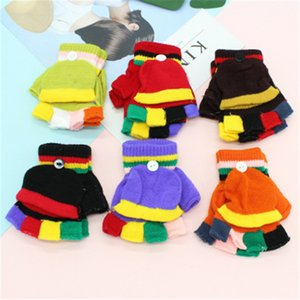 Цвет соответствия флип двойного назначения перчатки Мальчики сгущает Теплые ребёнки Перчатки Лоскутное Цветные Рукавицы Дети Трикотажная Половина Пальцы Флип перчатки