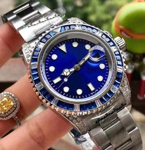 Feine Herren-Uhr 316 Edelstahlgehäuse / Gurt beschichtetes Glas rot Diamantlünette automatische mechanische Bewegung Durchmesser 43mm farbig