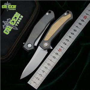 Espinho verde cartões V faca dobrável D2 lâmina de cobre titânio lidar com acampamento ao ar livre caça bolso frutas facas de cozinha EDC ferramentas