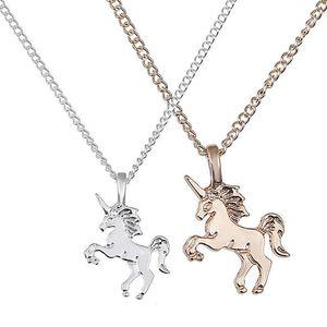 Colar do cavalo lindo presente Unicorn colares Mulheres Moda Exquisite Unicorn cavalo pingente de colar chapeamento Cadeia Choker Natal Jewelry