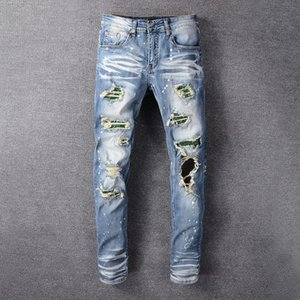New Arrivals Mens Designer Jeans Classic Tear Casual Trousers Cowboy Famous Brand Zipper Tear Hole Washed Pants Hip Hop Hot Sale US Size