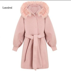 Female long cotton solid coat A-line V-neck pockets sashes full sleeve autumn and winter office lady