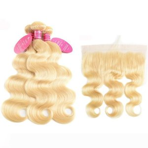 Perstar 613 Blonde Brazilian Body Wave With Frontal Human Hair Ear to Ear Lace Frontal Closure With Bundles Remy 613 Hair