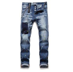 Erkek Düz Bacak Sıkıştırılmış Slim Fit Jeans Moda Hip Hop Biker Pantolon 1041 panelli Motosiklet Kot Pantolon Yıkanmış Tops