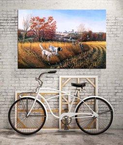 HD Печатные Animals Картина маслом Домашнее украшение стены искусства Холст Bird Dog Страна Unframed