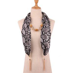 Ornamentos Colar Scarf borlas pérola Modo Chained Scarf Will leopardo Cobra Grain Printing Exagero Scarf