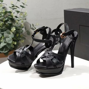 Women Tribute sandals Leather Platform Sandals T-strap High Heels Sandals Lady Shoes Pumps Party Shoes 10cm 14cm with box US 4-11