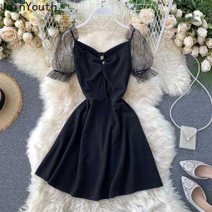 Joinyouth Elegant Party Dress Gauze Patchwork Black Vestidos Puff Sleeve V-neck Mini Dresses High Waist Slim Fit Korean Clothes