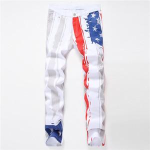 Tasarımcı Jeans Casual Erkek Kalem Pantolon Yaz Moda Homme Giyim Erkek Beyaz Baskılı Kişilik Jeans Erkekler