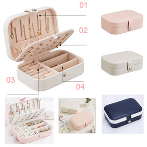 Earrings Rings Plate Jewelry Box Imitation Leather Travel Earring Ring Bracelet Necklaces Multi-function Storage Boxes Cases HH9-2669