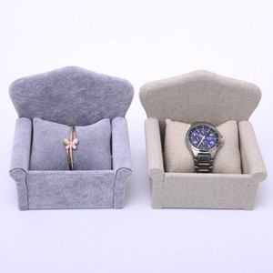[DDisplay]Sofa Shape Ice Velvet Bracelet Jewelry Display, Special Linen Watch Window Display Stand, Grey Bangle Container Store Show Counter