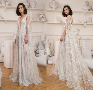 Fashion Wedding Dresses Sexy V Neck Lace Appliques Sequins Bridal Gowns Custom Made Backless Sweep Train Designer A-Line Wedding Dress