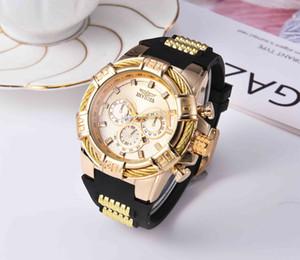 2020 INVICTA роскошные золотые часы все суб циферблаты рабочие мужские Спортивные кварцевые часы хронограф авто дата резинка наручные часы для мужчин подарок 3C