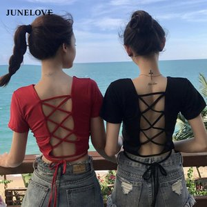 Hollow out Lace up sexy t-shirts for women fashion Short Sleeves Female t shirt summer crop top female O-neck tops black tee