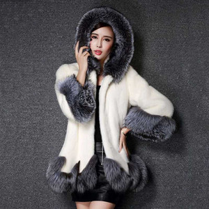 Large Size 2020 Fashion Autumn and Winter Women Faux Fur Hooded Coat Thick Warm Fur Jacket S-5XL Women Black Cloak
