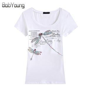 Babyoung Summer Tops Camiseta de Mujer Estilo de Moda Hecho A Mano Patrón de Libélula Camisetas Femme Camiseta Mujer Camisetas Mujer 4xl Y19042501