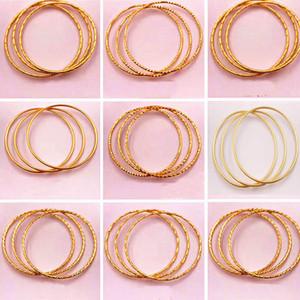 Kadınların altın bilezik ince takı değil solma 18K altın kaplama bilezik moda dalga bilezik