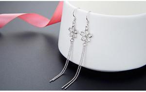 Top Qualität Frauen S925 Sterlingsilber-Tropfen-Ohrringe SS925 Ohrring Frauen Silberohrring Quasten-Ohrringe baumeln Fransen earrin
