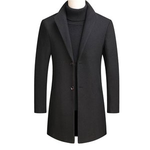 2020 Kalın Yün Karışımları Kadife Tasarım Yünlü Erkek Casual Hendek Palto Slim Fit Tek Breasted Ofisi Ceketler Coat