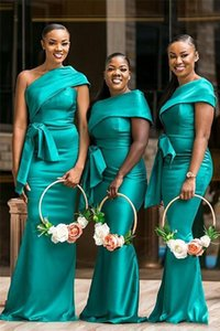 One Shoulder Hunter African Cheap Bridesmaid Dresses For Weddings Guest Dress Cap Sleeve Satin Sheath Sashes Formal Maid of Honor Gowns