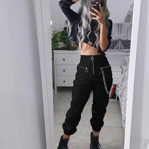 Goth Girl Harajuku Calças Escuras Mulheres Zipper Cintura Alta Com Cadeia Calças Punk Streetwear Estilo Grunge Preto Harem Calças Feminino