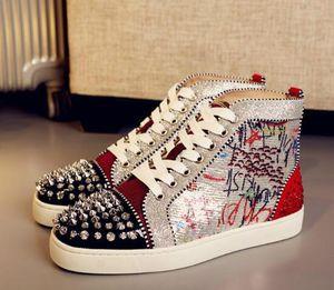 Christian\u52aa Louboutin CL Original Box Hot Sell Men Women Luxury Shoes Red Bottom Sneakers high-top Print Silver Pik Pik NoMNHJ15