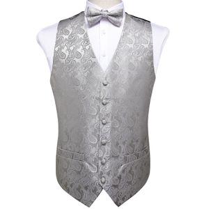 Европейский склад Мужская Классический серый Paisley Jacquard шелковый жилет Жилет Bow Tie Платок Запонки Комплект Fashion Party Wedding MJ-0110