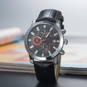 2020 New Montbl Marca Six Needle Série de Alta Qualidade Mens Luxo Relógio Quartz Pequeno Agulha Run Seconds Moda Cinto de Couro Relógio