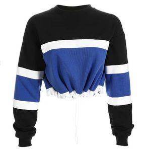 2018 Fashion cropped hoodie Womens Long Sleeve Splcing Color Sweatshirt Pullover Tops Blouse streetwear sudadera mujer
