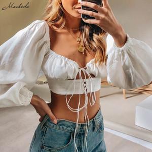 Cultivos macheda francesa Pareja blanca Tops manga de las mujeres otoño atractivas ahuecan hacia fuera largo cuello en V Top casual de las señoras Solid Top 2019