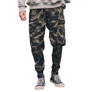 Erkek Hip Hop Pantolon Yan Cepler Kalem Eski Kamuflaj Kargo Pantolon Streetwear Rahat Harem Pantolon Askeri Tatical Pantolon