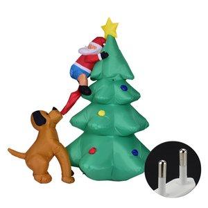 Ornement Accrobranches Festival de Led chien Bit fête de Noël Lumière Cartoon Grand Père Noël gonflable modèle nuit Home Decor