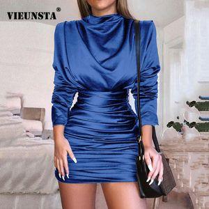 VIEUNSTA Mulheres O pescoço completa vestido de manga plissada Mini Vestido Sexy de seda Magro Clubnight Partido Bodycon outono vestido elegante Vestidos V191111