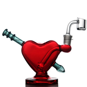 Glasbong rotes Herz Wasser abtupfen rig Bongs Rohr Valentinstag Geschenk mit Bohrinseln Quarz banger Kräuterschale Becher