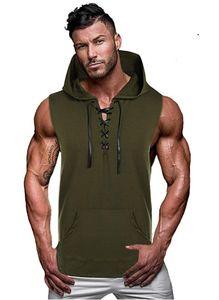 new Muscleguys gym vest Mens Cotton Hoodie Sweatshirts fitness clothes bodybuilding tank top men Sleeveless Tees Shirt tanktops