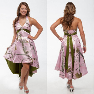 New Halter rosa Camo Alta Baixa Bridesmaids camuflagem Dresses personalizado real árvore Curto Plus Size Honor formal da empregada doméstica Visitante Formal Wear