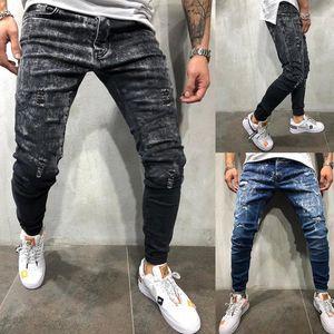 Мода карандаш Брюки Мужские джинсы Мужские конструктор Hole Gradient Jeans Тощий Solid Color