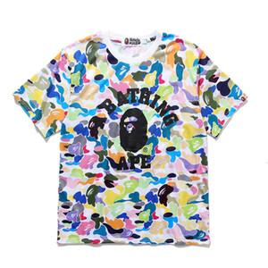 Bape Mens Styliste T-shirt manches courtes pour hommes Styliste bonbons de couleur camouflage col rond manches courtes T-shirts Hommes Femmes