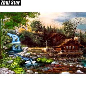 "Zhui Stern voller Platz 5D Drill DIY Diamant-Painting ""Wasserfall Haus"" 3D-Stickerei-Set-Kreuz-Stich-Mosaik-Dekor-Geschenk VIP"