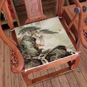 의자 안락 의자 좌석 패드 코튼 리넨 홈 오피스 쿠션 좌석 식사 중국어 인쇄 풍경 소파 의자 좌석 쿠션
