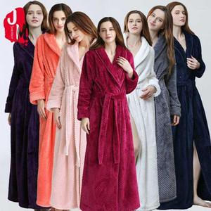 Frauen Warm extralange Coral Fleece Bademantel Winter-Thick Flanell Thermal Kimonobademantel Dressing Gown Braut Peignoir Sleepwear1