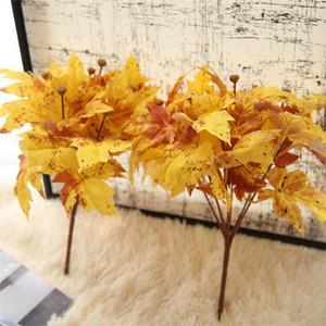 Falso Artificial Folha amarelo bordo folha folhas de simulação Casamento Casa Decor Falso Planta Artificial Bouquet amarelo decoração da queda