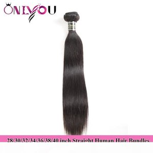 Onlyou Hair Products Raw Indian Straight Human Hair Bundles 28 30 32 34 36 38 40 inch Weaves Bundles Brazilian Virgin Hair Extensions