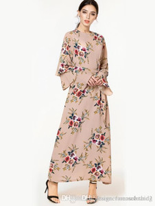 Muslim Malaysia Floral Long Dresses Spring Summer Women Flare Long Sleeves Casual Fashion Dress