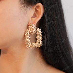 Latest Embossed Flower Metal Stud Earrings Simple Silver Gold Color Woman Earring Personality Exotic Lady Wedding Earings