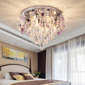 كريستال الثريا الإضاءة الكريستال الفاخر الجولة الثريا رائع بقيادة مصباح السقف ثريات الأضواء لمدخل غرفة النوم