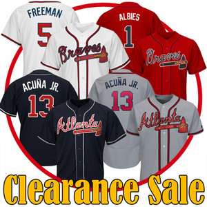 Tasfiye satışı Atlanta Ronald Acuna Jr Freddie Freeman Ozzie Albies Beyaz Siyah Mavi Gri Majestic Beyzbol Formalar