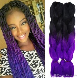 Purple Braiding Hair Ombre Xpressions Jumbo Kanekalon Colors 24'' 100g Ombre Synthetic Expression Braiding Hair Bulk